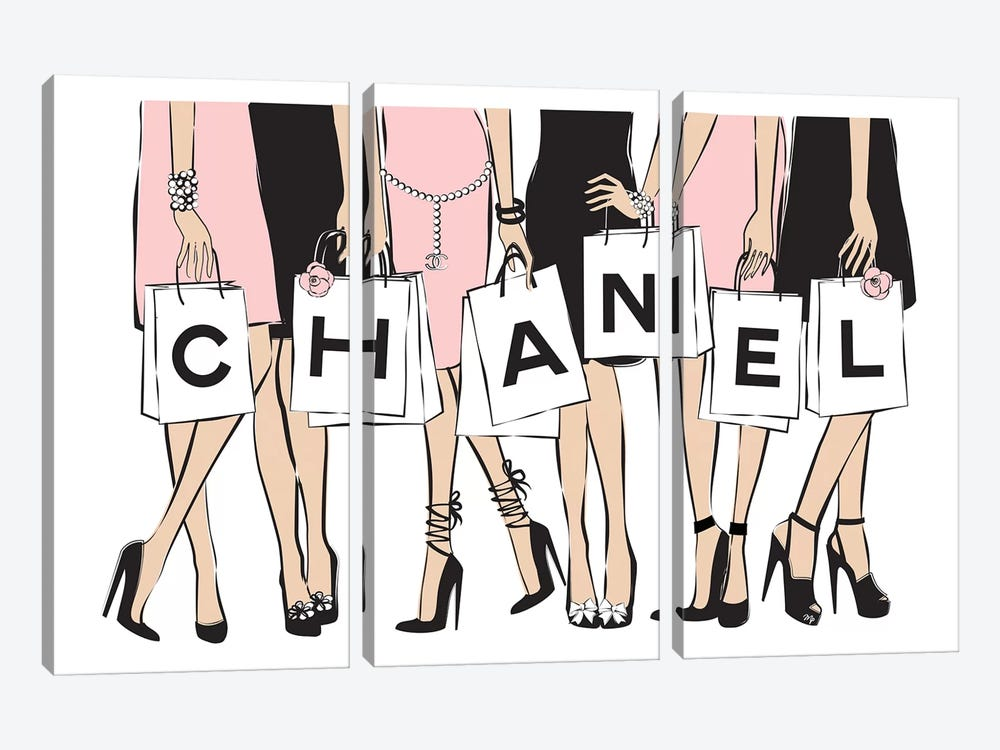 Chanel Shopping I by Martina Pavlova 3-piece Canvas Art