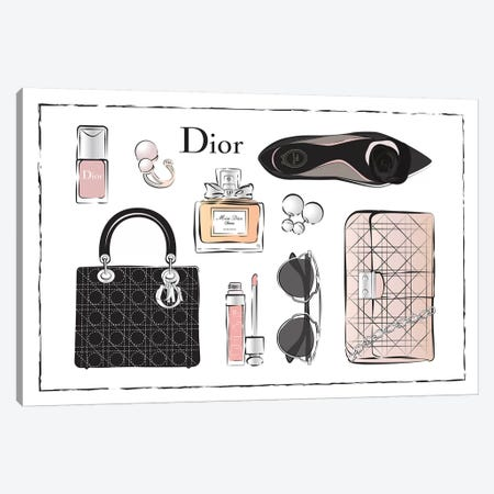 Dior Accessories Canvas Print #PAV22} by Martina Pavlova Canvas Artwork