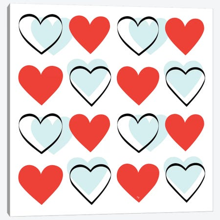 Hearts Canvas Print #PAV238} by Martina Pavlova Canvas Artwork