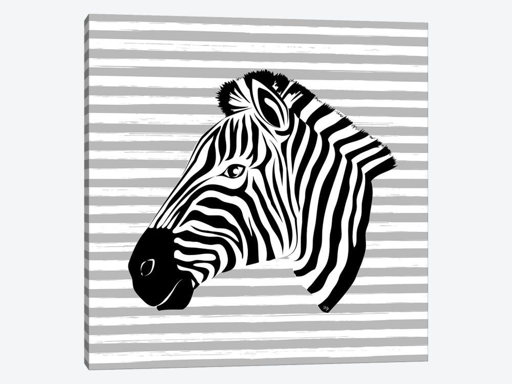 Striped Zebra by Martina Pavlova 1-piece Canvas Art