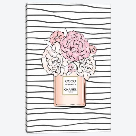 Bloom Coco Stripes Canvas Print #PAV286} by Martina Pavlova Canvas Art