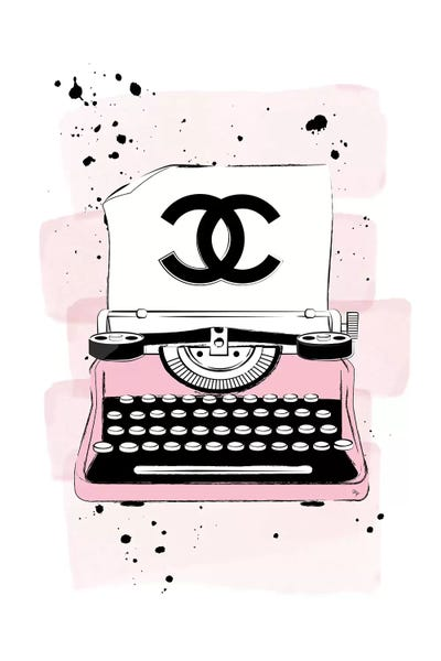 CC Typewriter Pink Canvas Print by Martina Pavlova | iCanvas