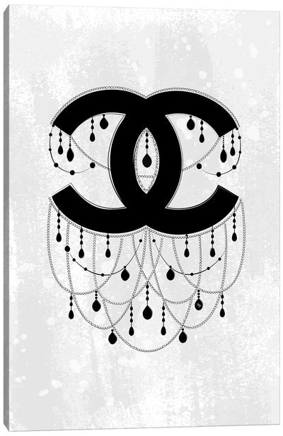 Chandelier Gray Canvas Art Print