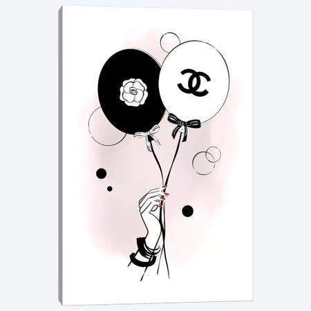 Chanel Balloons Pink Canvas Print #PAV298} by Martina Pavlova Canvas Artwork