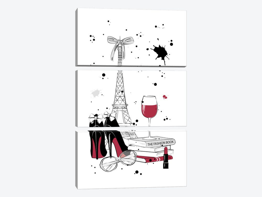 Living In Paris by Martina Pavlova 3-piece Canvas Wall Art