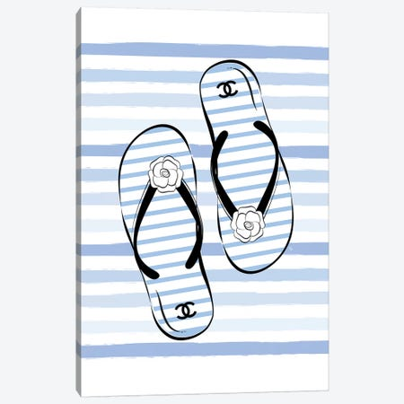 Flip Flops Blue Canvas Print #PAV315} by Martina Pavlova Canvas Wall Art