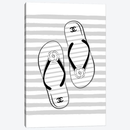 Flip Flops Gray Canvas Print #PAV316} by Martina Pavlova Canvas Art