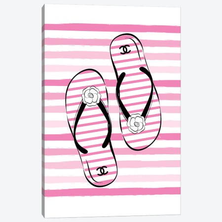 Flip Flops Pink Canvas Print #PAV317} by Martina Pavlova Canvas Art