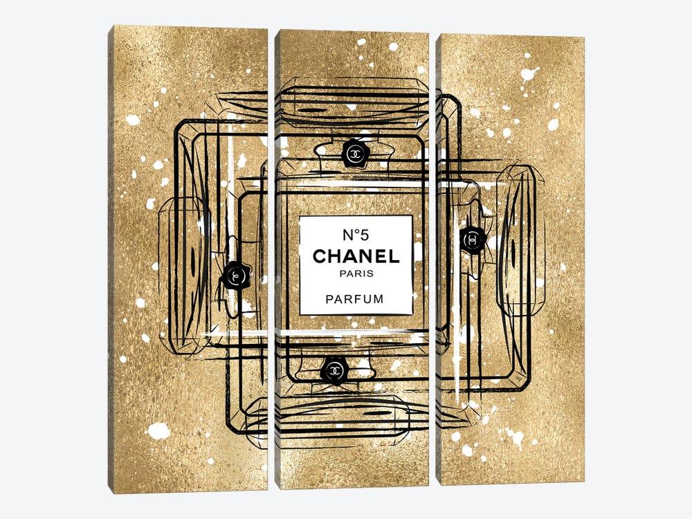 Golden Chanel by Martina Pavlova 3-piece Canvas Art Print