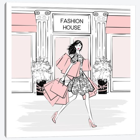 Pink Shopaholic Square 3-Piece Canvas #PAV373} by Martina Pavlova Canvas Print