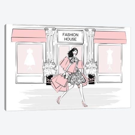 Pink Shopaholic Canvas Print #PAV374} by Martina Pavlova Canvas Artwork