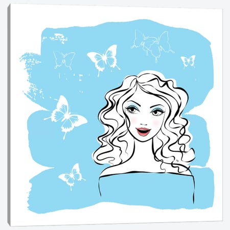 Blue Butterflies Canvas Print #PAV391} by Martina Pavlova Canvas Art Print