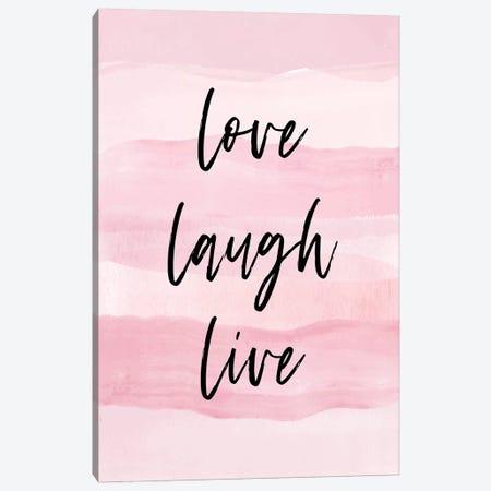 Love Laugh Quote Pink Canvas Print #PAV393} by Martina Pavlova Art Print