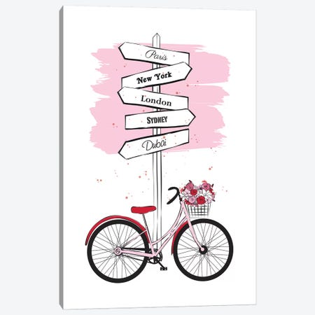Bike Travels Canvas Print #PAV3} by Martina Pavlova Canvas Art