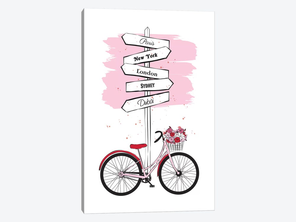 Bike Travels by Martina Pavlova 1-piece Canvas Art Print