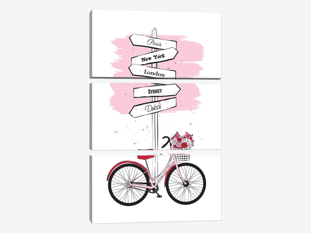 Bike Travels by Martina Pavlova 3-piece Canvas Art Print