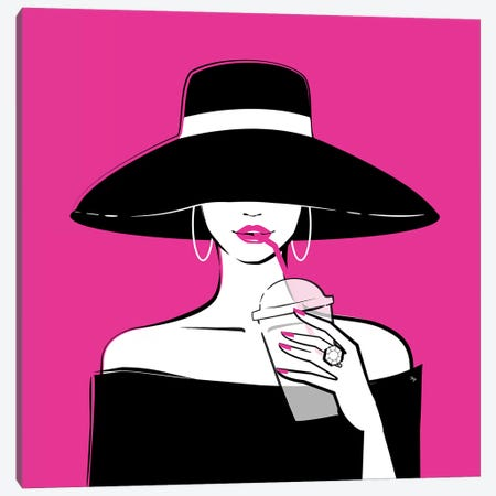 Black Hat In Pink Canvas Print #PAV412} by Martina Pavlova Canvas Art
