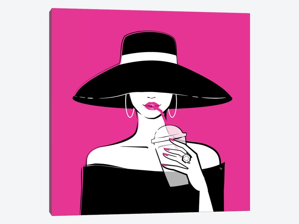 Black Hat In Pink by Martina Pavlova 1-piece Canvas Art