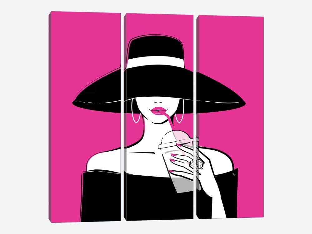 Black Hat In Pink by Martina Pavlova 3-piece Canvas Art