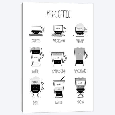 My Coffee Chart Canvas Print #PAV417} by Martina Pavlova Canvas Print