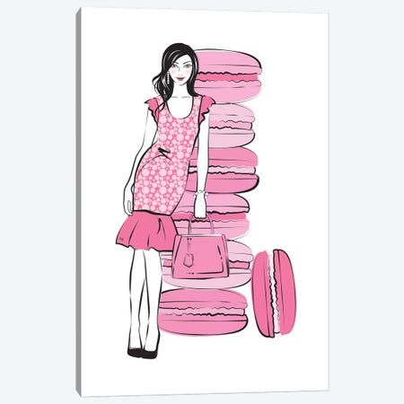 Pink Macaron Girl 3-Piece Canvas #PAV432} by Martina Pavlova Canvas Wall Art