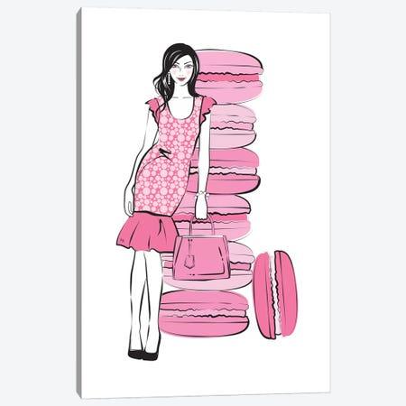 Pink Macaron Girl Canvas Print #PAV432} by Martina Pavlova Canvas Wall Art