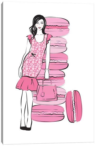 Pink Macaron Girl Canvas Art Print