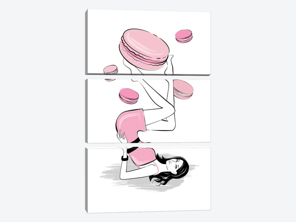 Sweet Macarons by Martina Pavlova 3-piece Canvas Wall Art