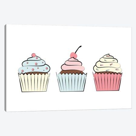 Three Cupcakes Canvas Print #PAV439} by Martina Pavlova Canvas Art