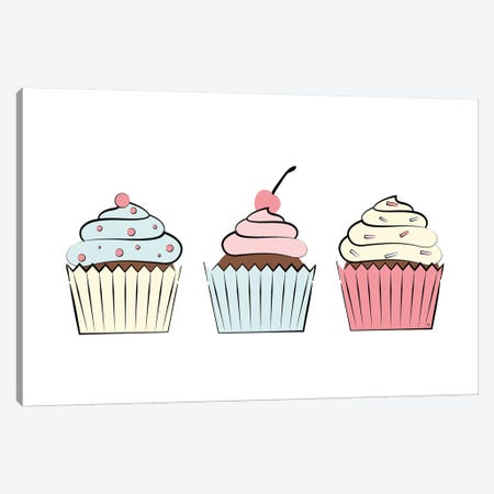 Three Cupcakes 3-Piece Canvas #PAV439} by Martina Pavlova Canvas Art