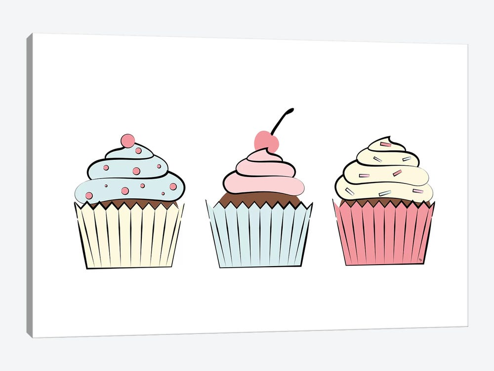 Three Cupcakes by Martina Pavlova 1-piece Canvas Art Print