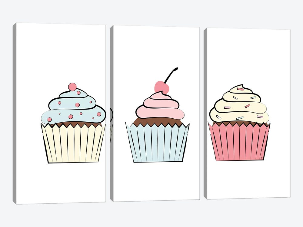Three Cupcakes by Martina Pavlova 3-piece Art Print