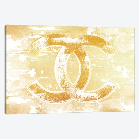 Chanel Logo Gold Canvas Print #PAV480} by Martina Pavlova Art Print