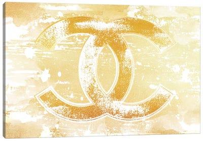 Chanel Logo Gold Canvas Art Print