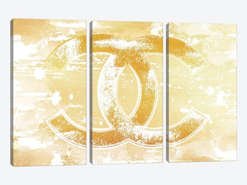 Chanel Logo Gold by Martina Pavlova 3-piece Art Print