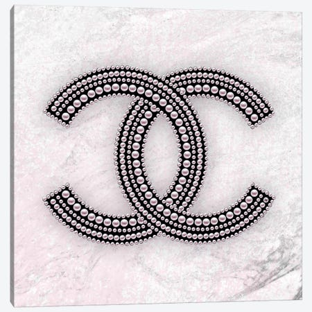 Chanel Logo Pink Canvas Print #PAV481} by Martina Pavlova Canvas Art Print