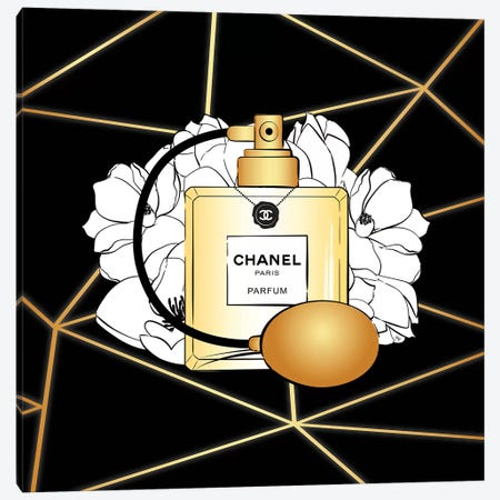 Chanel Perfume Canvas Print #PAV485} by Martina Pavlova Canvas Wall Art