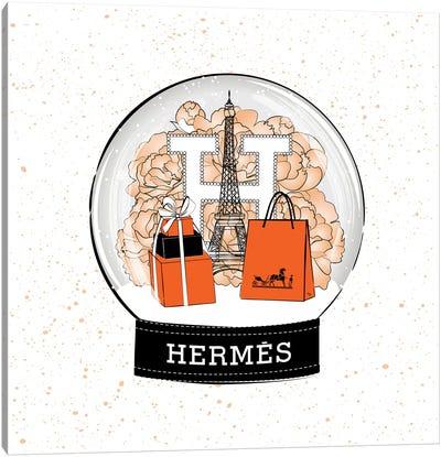 Hermes Snow Ball Canvas Art Print