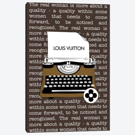 LV Typewriter Canvas Print #PAV515} by Martina Pavlova Canvas Artwork