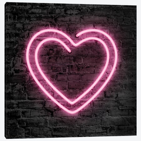 Neon Heart Canvas Print #PAV530} by Martina Pavlova Canvas Art Print