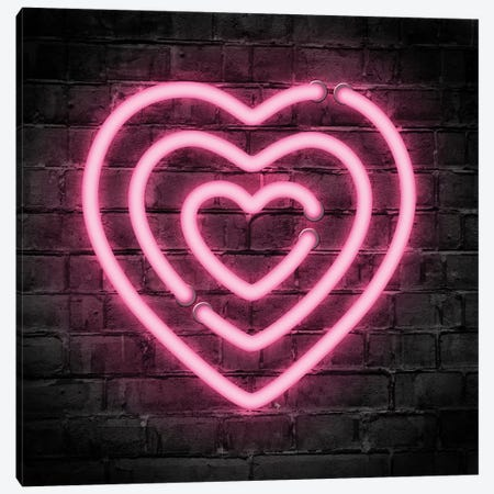 Neon Hearts Canvas Print #PAV531} by Martina Pavlova Canvas Art Print