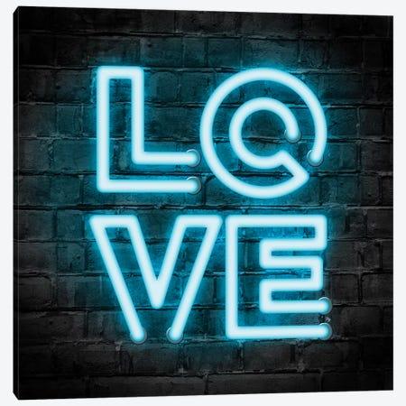 Neon Love Blue Canvas Print #PAV532} by Martina Pavlova Canvas Print