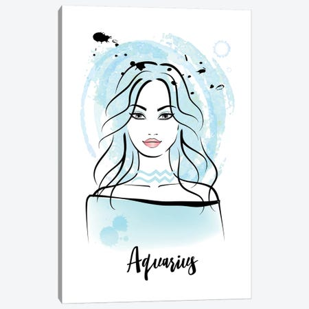 Aquarius Horoscope Sign 3-Piece Canvas #PAV536} by Martina Pavlova Canvas Artwork