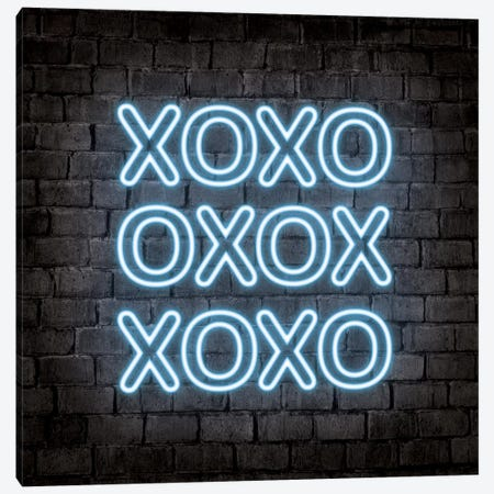 Neon Xoxo Blue Canvas Print #PAV552} by Martina Pavlova Canvas Art Print