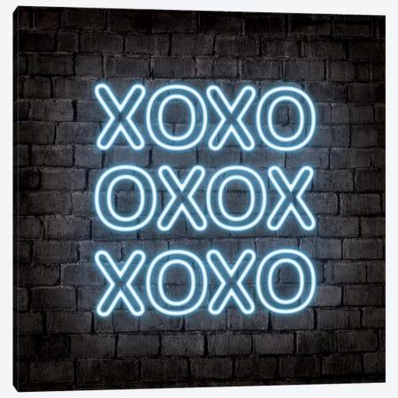 Neon Xoxo Blue Canvas Print #PAV552} by Martina Pavlova Canvas Art Print