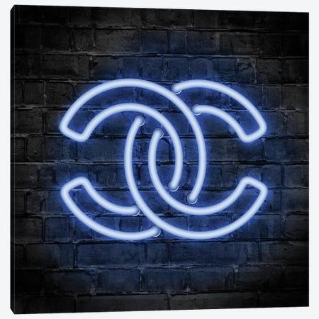 Neon Logo Blue Canvas Print #PAV554} by Martina Pavlova Canvas Artwork