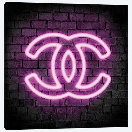 Neon Logo Purple Canvas Print #PAV555} by Martina Pavlova Canvas Wall Art
