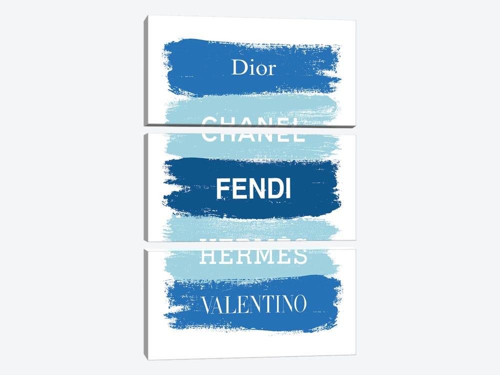 Blue Fashion Brands by Martina Pavlova 3-piece Canvas Art