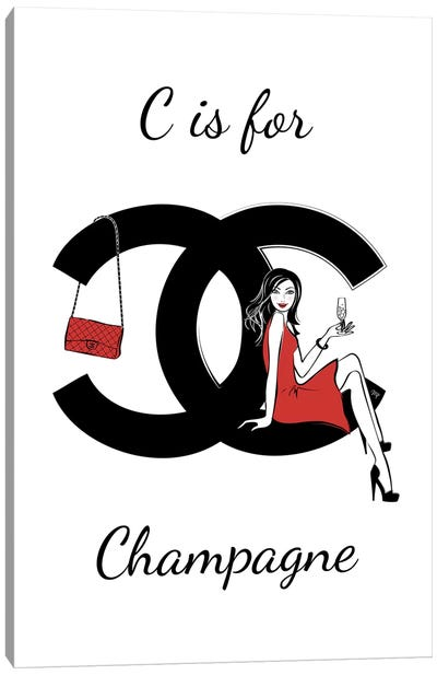 CC: C Is For Champagne Canvas Art Print