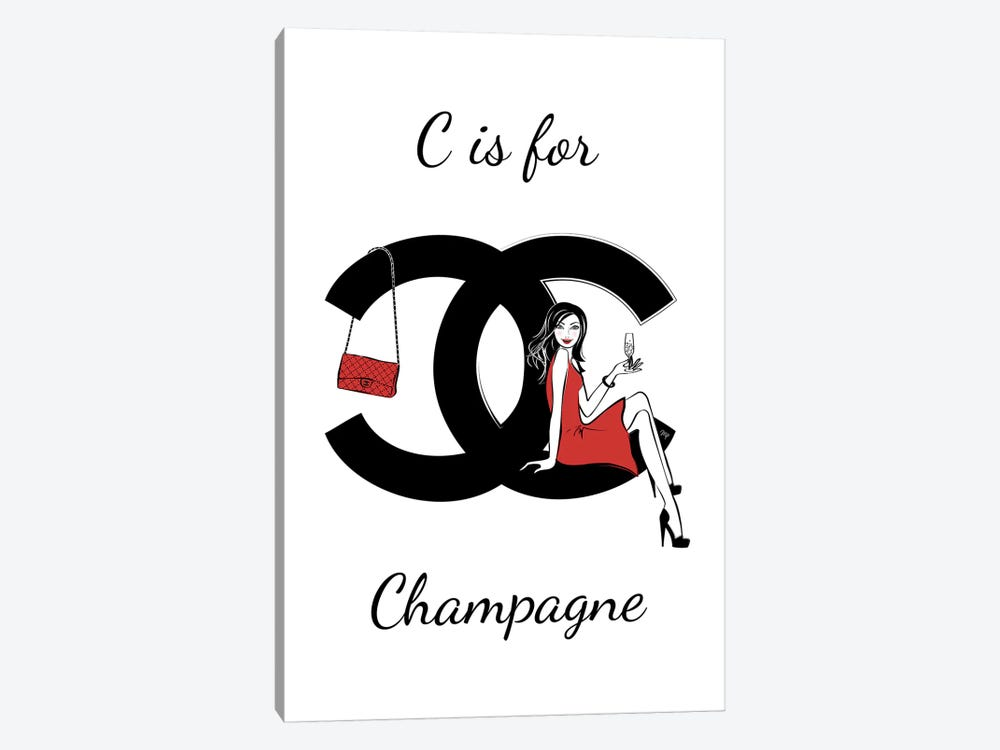 CC: C Is For Champagne by Martina Pavlova 1-piece Canvas Art